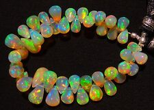 Natural Gem Ethiopian Opal Ultimate Quality Rainbow Fire Teardrop Briolettes 5""