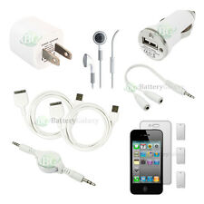10 pcs Bundle Kit White 2x USB Cable+2 Charger+Headset for Apple iPhone 4 4G 4S