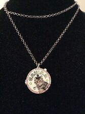 $55 Betsey Johnson Cat Caviar Anchors Away Locket Silvertone Necklace BBB 27