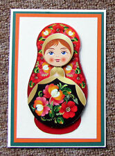 "Hand Crafted Decoupage Doll Card - any occasion - Size 4"" x 6"""
