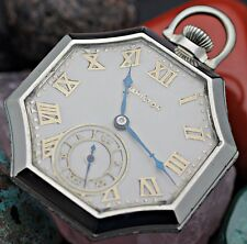 C. 1928 HAMILTON 912 17j 12s 14K White Gold Filled Octagon Case Pocket Watch