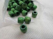 200 BARREL SHAPE  7/16 WOODEN GREEN BEADS JEWELRY MAKING MACRAME  CRAFTS