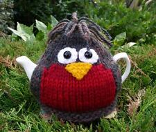 Hand Knitted Robin Tea Cosy – 100% Wool – for small 2 cup teapot