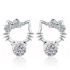 Womens 925 Sterling Silver Swarovski Crystal Kitty Cat Ear Stud Earrings Jewelry