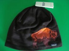 MENS PATAGONIA KNIT BEANIE HAT BUFFALO INTERIOR LINED BROWN NEW WITH TAGS