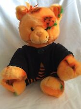 "12"" Dressed Build a Bear Halloween Kitty Cat Pumpkin Fur Orange Black RARE"