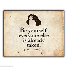"""Letrero de metal placa de pared """"Be Yourself"""" presupuesto impresión arte cartel de Oscar Wilde Vintage"""