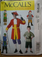 McCall's 7215 Kids Peter Pan, Captain Hook, Pirate Costume Pattern 3-8