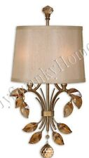 Crystal LEAVES Sconce NEIMAN MARCUS Alenya Wall Light Champagne Fixture Shade