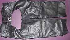 Harley-Davidson Mens Genuine Black Leather Chaps - Size M Medium - FREE S&H