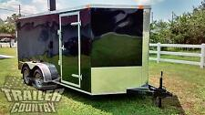 NEW 2017 7 x 16 7x16 V-Nosed Enclosed Cargo Motorcycle Trailer Ramp & Side Door