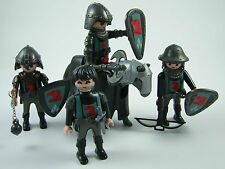 4x Playmobil Red Eagle Knights Figures with Weapons, 3 Shields & Armoured Horse