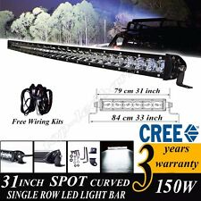30INCH 150W CREE LED CURVED WORK LIGHT BAR SINGLE ROW SPOT OFF ROAD 4X4WD TRUCK