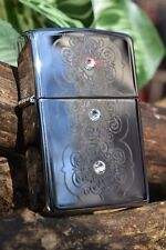Zippo Lighter - Rotary Victorian Pattern - Engraved - Three Swarovski Crystals