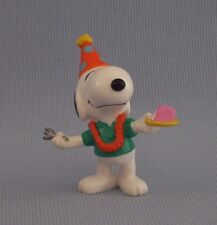 "Snoopy Birthday Cake Slice PVC Figure Peanuts Gang 3"" Tall Cone Party Hat"