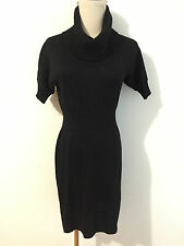 Ann Taylor LOFT Petites Cowl Neck Sweater Dress Black Short Sleeve Size XSP