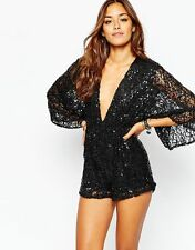 Motel Sequin Kimono Sleeve Playsuit With Plunge Neck in Black - XS