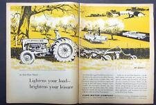 1959 Ford & Farm 2 Page Ad 861 Tractor, Ranchero Pickup & Galaxie 2 Door Hardtop