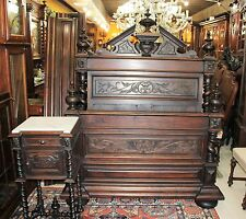French Antique Rosewood Louis XIII Barley Twist Full / Que Size Bed & Nightstand
