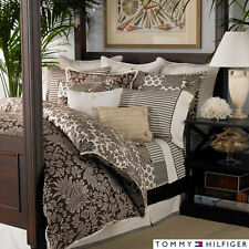TOMMY HILFIGER Brown Ivory Paisley 3pc DUVET SET King Floral House on Hill New