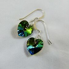 925 Sterling Silver Earrings with Peacock Green Heart Swarovski Elements Crystal