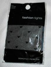 New in Pack Dorothy Perkins Loveheart Design Black Fashion TIGHTS Size Small