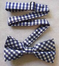 NEW TOP QUALITY MENS DICKIE BOW TIE DOUBLE BOWTIE BLUE BLACK CHECKED CHECKS