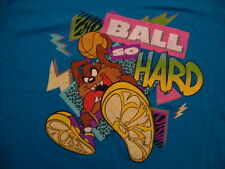 Looney Tunes Ball So Hard Tazmanian Devil Basketball T Shirt Blue Size L