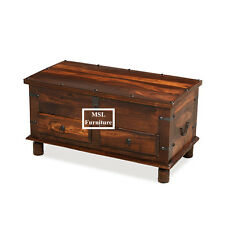 SOLID SHEESHAM WOOD JALI BLANKET BOX STORAGE COFFEE TABLE TRUNK WITH DRAWERS