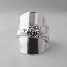 Stunningly Ornate Handmade Antique Solid Sterling Silver Spoon Ring date 1907