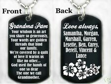 GRANDMA, NANA ,ABUELA ,SAVTA, OMA poem DOG TAG Necklace/Key chain + PERSONALIZE