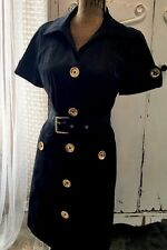 Michael Kors Dress ~ Designer Sexy Black Belted Dress w/Gold Buttons ~ Sz S