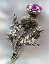 SOLID PEWTER KILT PIN HIGHLAND THISTLE FAUX AMETHYST SET STONE by MIRACLE KILTS