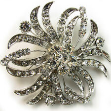 USA BROOCH Austrian Crystal PIN Bridal Wedding corsage SILVER vintage Flower B25