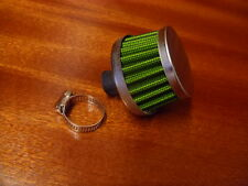 NEW CONE ENGINE OIL BREATHER INDUCTION FILTER GREEN UNIVERSAL 10 - 12 MM I/D