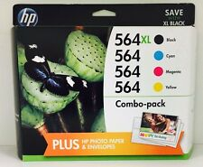 "HP Genuine 564XL Black + 564 C,M,Y Set of 4 Ink Cartridges ""A+"""