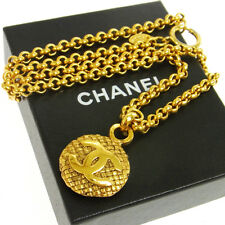 Authentic CHANEL Vintage CC Logos Medallion Gold Chain Necklace France V06465