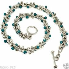 TAXCO VINTAGE STYLE MEXICAN 925 STERLING SILVER TURQUOISE BEADED NECKLACE MEXICO