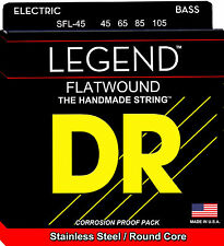 DR SFL-45 LEGEND SHORT SCALE FLAT WOUND BASS STRINGS, MEDIUM GAUGE 4's -  45-105