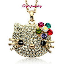 Rose Gold Filled Flower Hello Kitty Necklace Pave Genuine Swarovski Crystal N132