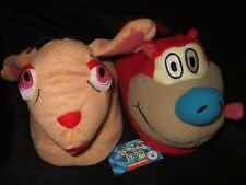 Women's Md 7-8 Ren Stimpy Nickelodeon Cat & Dog Cartoon Character Plush Slippers