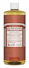 Dr. Bronners Castile Liquid Soaps Pure Soap 18 in 1 Hemp Eucalyptus 32 Ounce