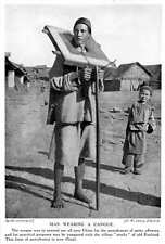 1913 Chinese Punishment For Petty Offences Man Wearing A Cangue