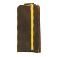 Valenta Flip with Top Closure Stripe Folio Case Cover For iPhone 5, 5S, SE-Brown