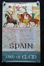 "Original Vtg Spain 1970s Poster 24"" x 39"" Land of El Cid Printed in Spain"