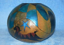 FERREL FOLK-ART HORSE AND STARS CARVED PAINTED SIGNED GOURD HAND CRAFTED IDAHO