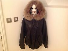 GENEL LEATHER BOMBER JACKET WITH FUR LINED HOOD - SIZE S - VGC