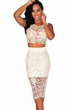 Abito ricamato top gonna pizzo nudo aderente Mini Lace Crop Top Skirt Set M
