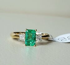 18ct gold emerald and diamond 3 stone ring