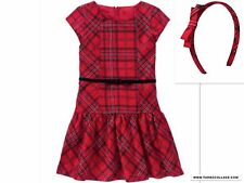Gymboree Very Merry Holly Red Plaid Christmas Holiday Dress and Headband size 5